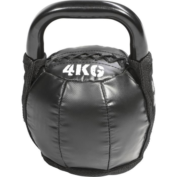 Kettlebell en fonte noir avec couleur rayé poignées disponible Gorilla Sports