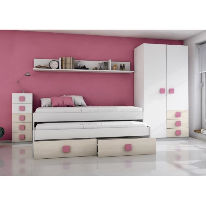armoire enfant avec 2 portes et 3 triroirs blanc beige. Black Bedroom Furniture Sets. Home Design Ideas
