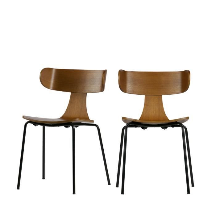 Marron Empilables 2 Chaises Lot De Form Design Couleur kXiZPu