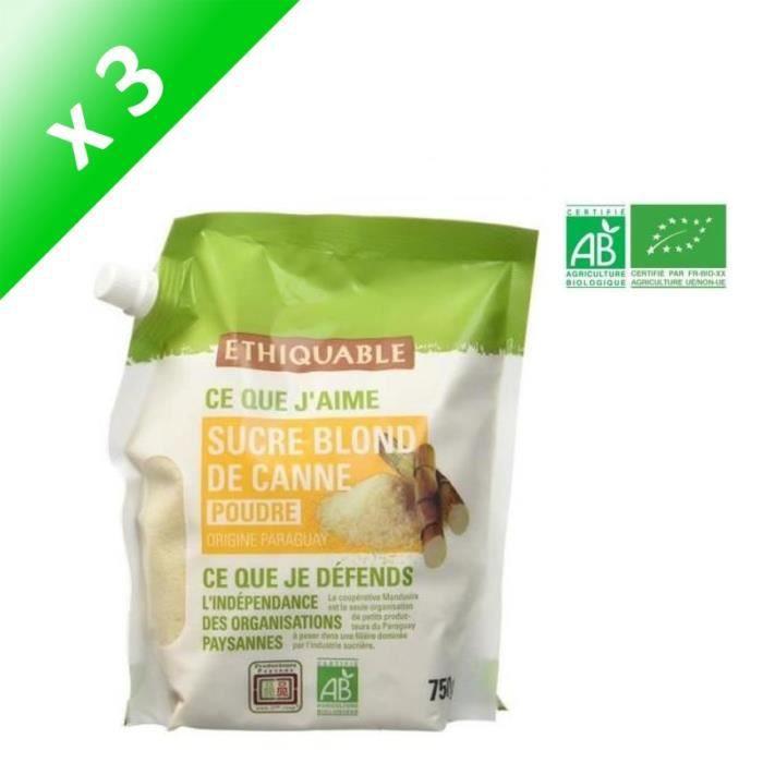 [LOT DE 3] ETHIQUABLE Sucre Blond de Canne en Poudre Bio - 750 g