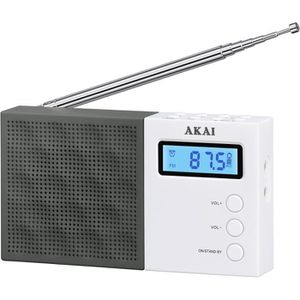 RADIO CD CASSETTE AKAI AR-76W Radio pocket Digital - Noir et Blanc