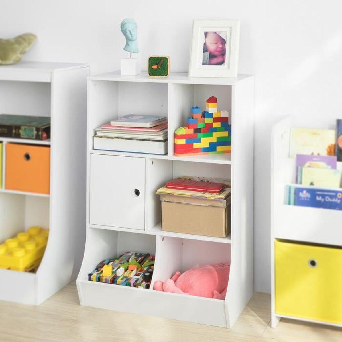 Meuble De Rangement Pour Garderie sobuy® kmb25-w bibliothèque meuble de rangement pour livres et jouets  Étagère enfant Étagère à livres Étagère de rangement