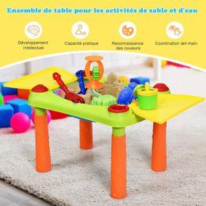 JOUET DE PLAGE COSTWAY Table Sable et Eau pour Enfants  18PCS 2 e