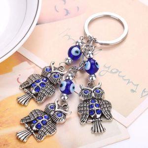 PORTE-CLÉS Creative Blue Evil Eye Owl Key Chain strass penden
