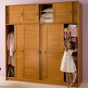 armoire 4 portes surmeuble m lissa miel achat. Black Bedroom Furniture Sets. Home Design Ideas