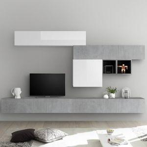 MEUBLE TV Ensemble meuble TV blanc laqué et gris béton GALAT