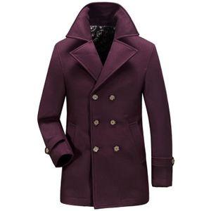 Trench Coat Homme en Laine Mi Longue Manteau Croisé Homme