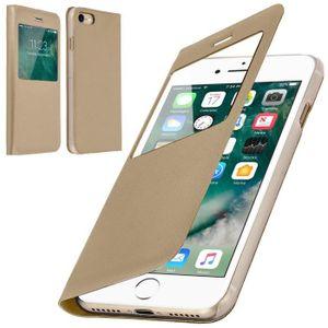 COQUE - BUMPER Coque iPhone 6-6S Rabat Clapet Fenêtre Or