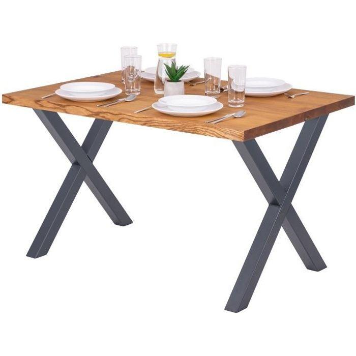 LAMO MANUFAKTUR Table à manger industrielle en bois massif - 120x80x76cm - frêne rustique - pieds métal gris - modèle design
