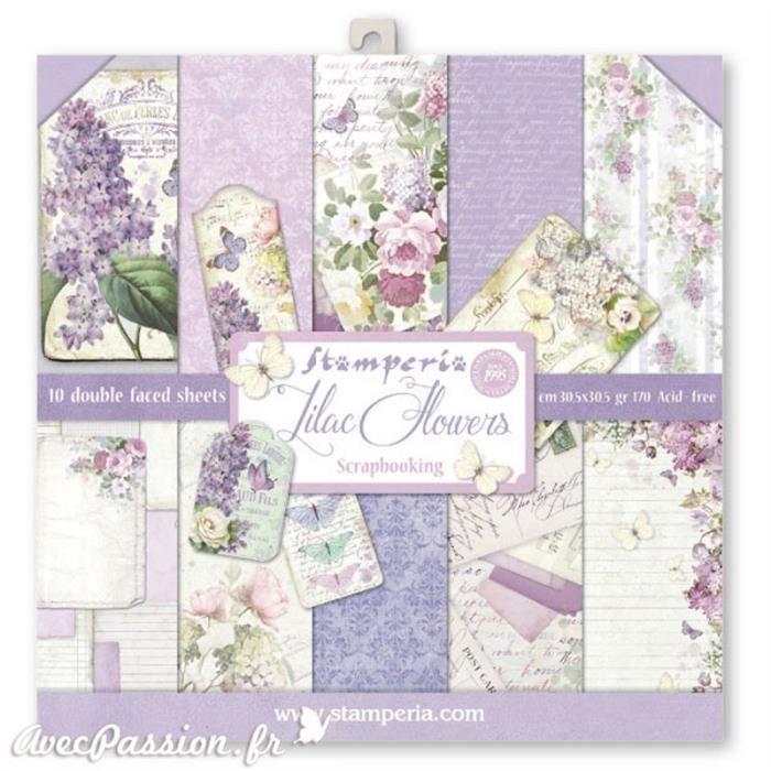 Papier scrapbooking assortiment lilas vintage 10f recto verso 30 x 30 cm Multicolore