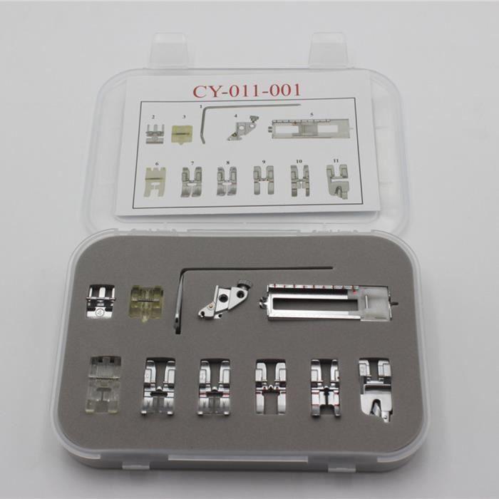 Pied de sertissage pour machine à coudre électrique multifonction pour ménage, 11 pièces