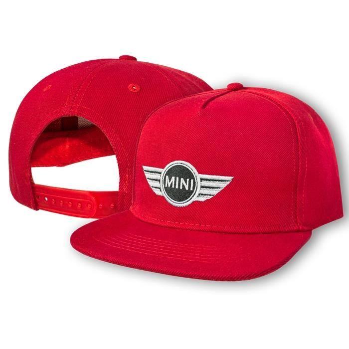 MINI Cooper Casquette de Baseball Snapback Rouge - Brodé Logo Auto Voiture Homme Femme Réglable Cap Chapeau Hip-Hop Cadeau 5 Panel