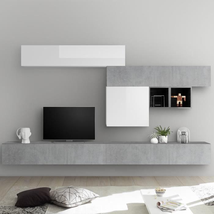 Ensemble meuble TV blanc laqué et gris béton GALATINA Gris L 275 x P 300 x H 200 cm