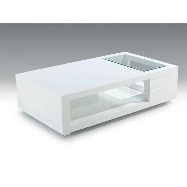 Table basse blanc laqué et plateau verre design DENISSE L 120 x P 60 x H 40 cm Blanc