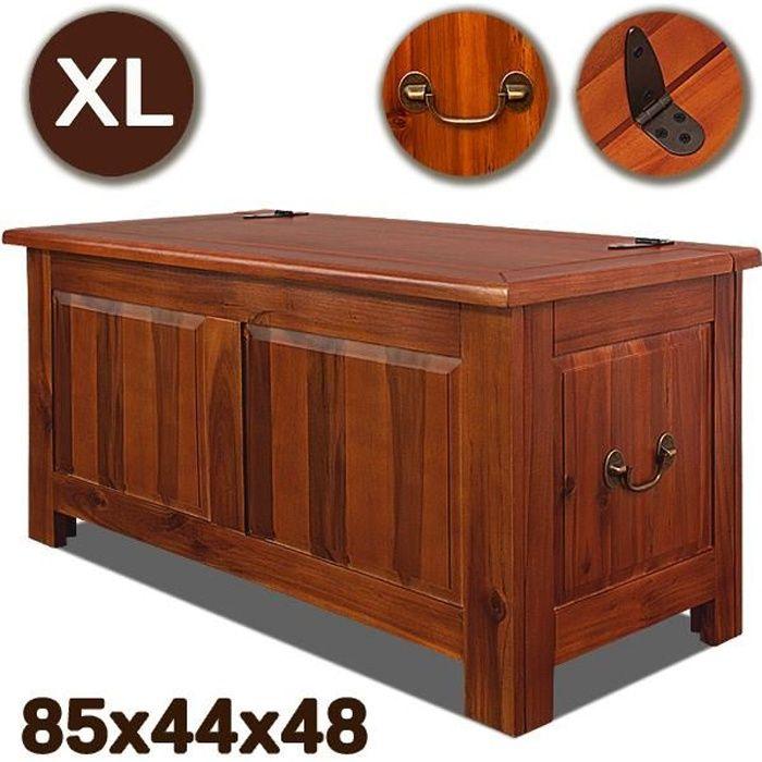 Coffre de rangement en bois dur acacia style vintage antique 85cmx44 cmx48cm malle de rangement jouets salon table basse magazines