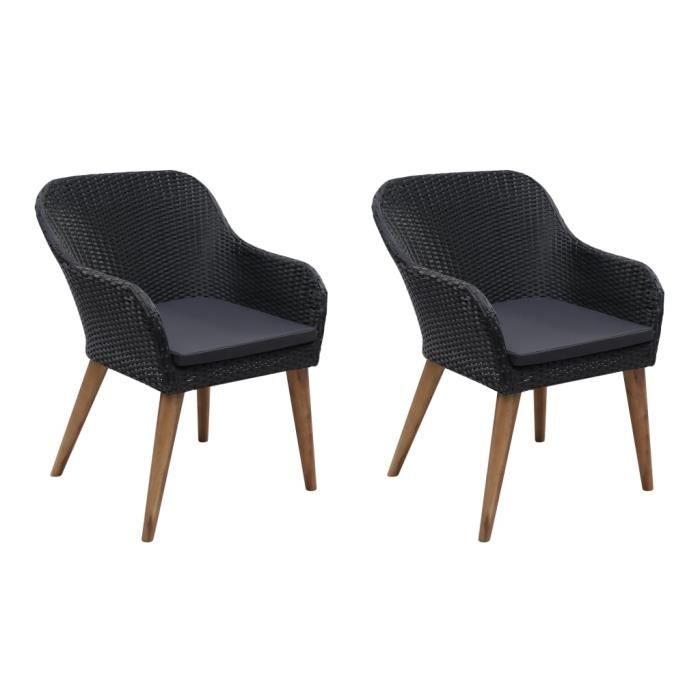 Star® 2 x Fauteuil de Jardin Professionnel - Chaise d'extérieur Chaise de bistro - avec coussins Résine tressée Noir 1398 :-)