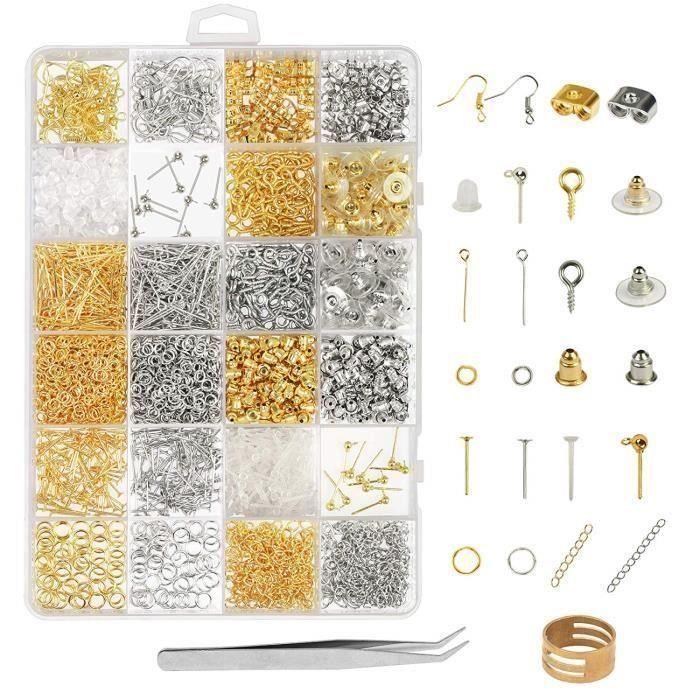 2416 Pcs Kit Bijoux Création Argent Or Fermoir Bracelet Accessoire de Réparation de Bijoux pour DIY Boucles d'oreilles Colliers Br