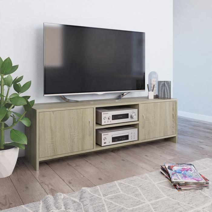 Furniture® Meuble TV Design - Meuble de rangement Meuble de Télévision Chêne sonoma 120 x 30 x 37,5 cm Aggloméré ��83918