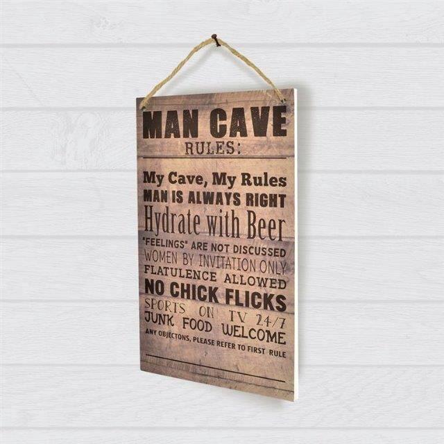 Plaque décorative murale en bois Man Cave Rules