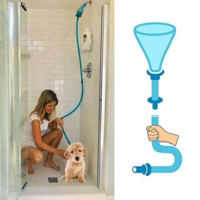 Pommeau de douche,JOYLOVE rinçage pour animaux de compagnie connecteur universel chien lavage Silicone Tube animal - Type Blue