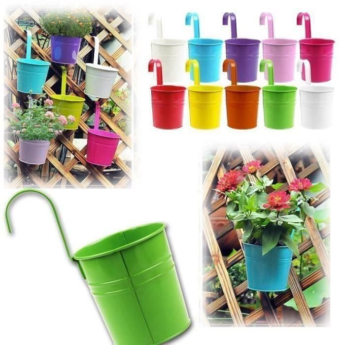 Zulux Kit 10 pcs Pots de Fleurs Pot Plante Suspendu 10 Couleurs Pots Fleur Métal Fer Balcon Jardin Maison Décoration
