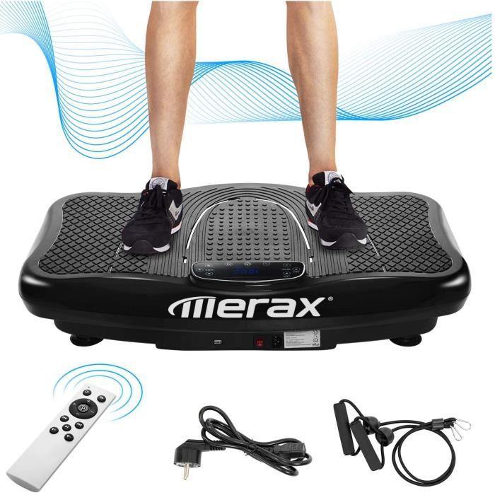 Merax Plateforme vibrante avec moteur silencieux, écran LCD, 5 programmes d'entraînement 180 niveaux, haut-parleur Bluetooth, téléco