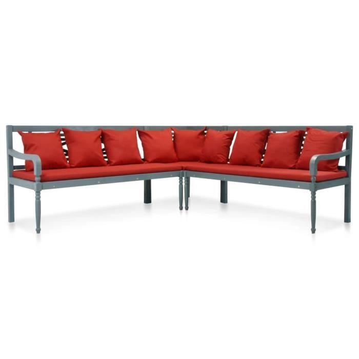 HMF© Ensemble Canapé Fauteuil et Table de Jardin - Salon de jardin 4 pcs - Bois d'acacia solide Gris et rouge ♕85321