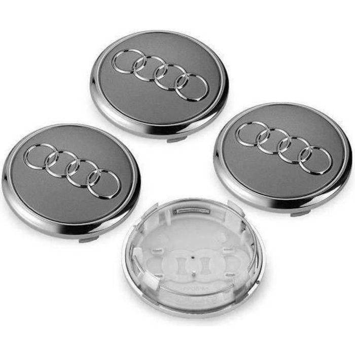 4x Centres de Roue Gris-Chromé 69mm Diamétre Emblème Audi Cache Moyeu De Roue. LBQ69