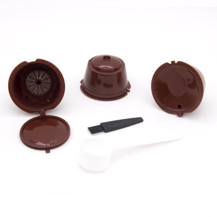 Petit déjeuner - Café,Tasse de filtre de Capsule de café réutilisable de 3 pièces pour Nescafe Dolce Gusto - Type 3pcs brown #A