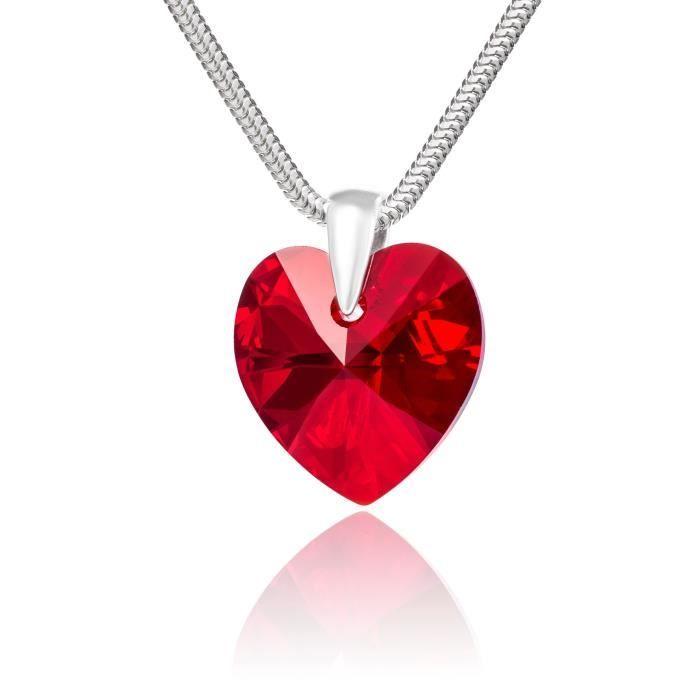 LillyMarie Collier pour femmes en argent sterling 925, vrais Swarovski Elements rouge, pendentif coeur, 45 cm, avec une boite à b