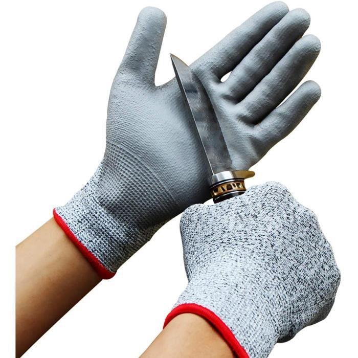 Biluer 2 paires Gants Anti Coupure Gants de Travail Gants Rsistant Gants de Protection De Niveau 5 Pour AlimentJardinageCuisi[5312]