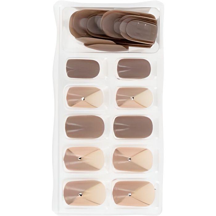 Faux ongles - Kit faux ongles adhésifs x24 Nail art beige - Beautélive - Femme
