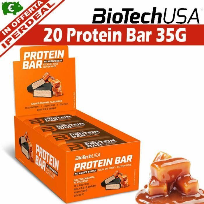 20 BARRES PROTEINES caramel 35 G WHEY Barre protéinée ARÔMES MIXTES BIOTECH USA BCAA OMEGA 3