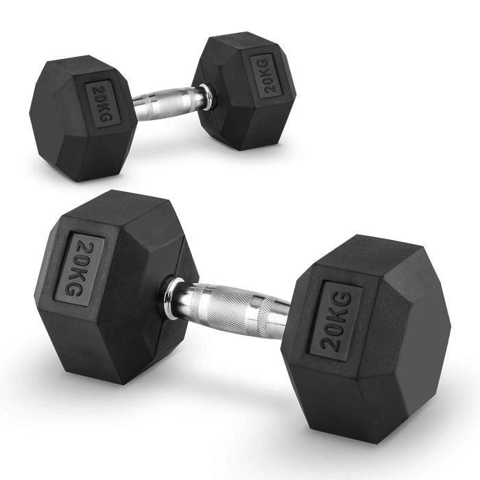 CAPITAL SPORTS Hexbell - Paire d'haltères courts pour musculation, cross-training… (caoutchouc résistant, prise chromée) - 2x 20kg