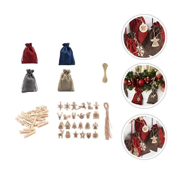 1set Sac cadeau de linge de Noël simple bricolage bois tag de bonbons tenant la pochette chocolat-bonbon confiserie chocolat