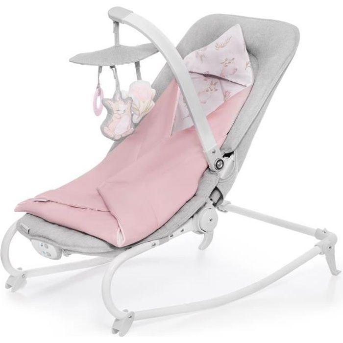 Kinderkraft FELIO Transat bebe 3 en 1, Balancelle, Siège enfant, Vibrations et 8 Mélodies, Rose pâle