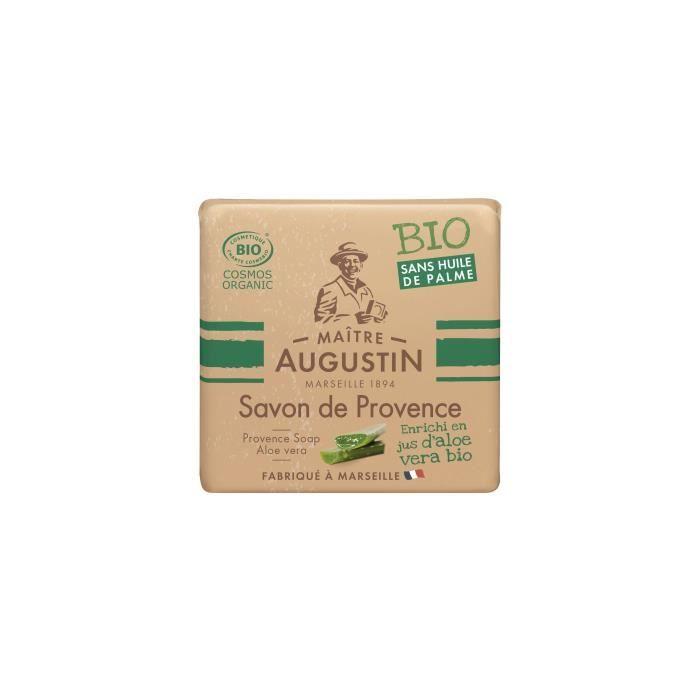 Le savon de Provence Bio Aloe Vera MAITRE AUGUSTIN nettoie votre peau tout en douceur.