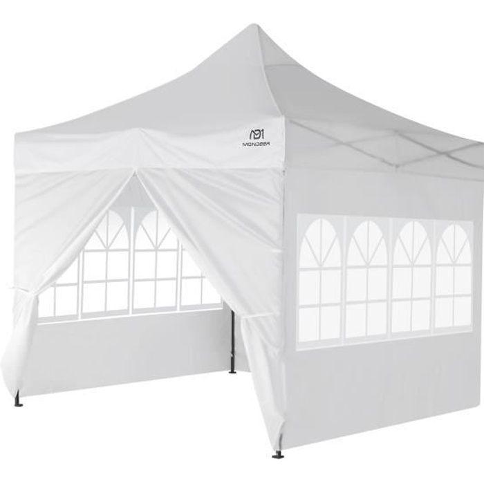 Tonnelle de Jardin 3mx3m Tente de Reception Pliante avec 4 Parois Latérales et Fenêtres pour Fête, Festival, Blanc - Mondeer