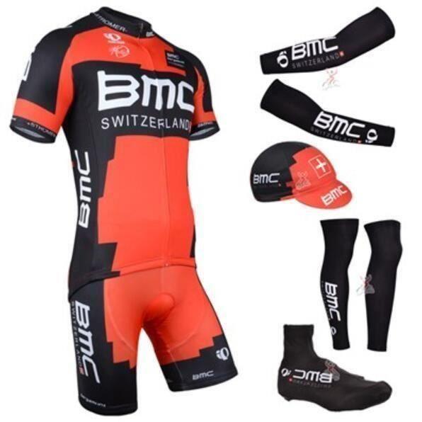 BMC Cyclisme Tenue de Maillot Courtes+Casquette+Manchettes+Manchettes Pantalons+Shoecover, Vélo Ensemble de Vêtement Tour France