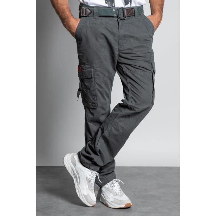 DEELUXE Pantalon cargo avec ceinture TROPERY Charcoal