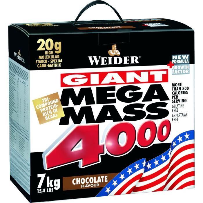 MEGA MASS 4000 WEIDER Chocolat 7kg + ShakeR