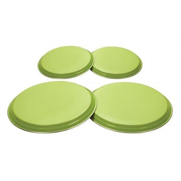 Lot de 4 protections pour brûleurs de gazinière acier inoxydable - Citron vert