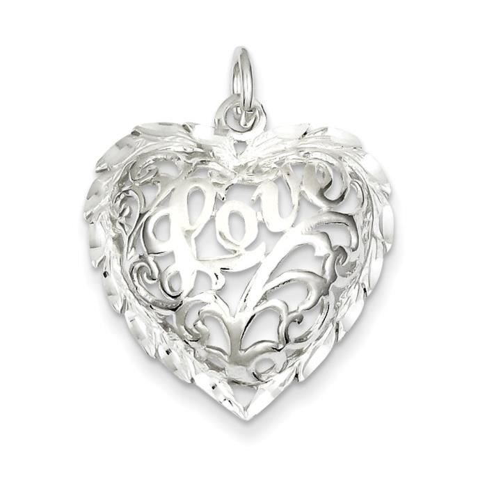 Argent Sterling taille diamant-Coeur