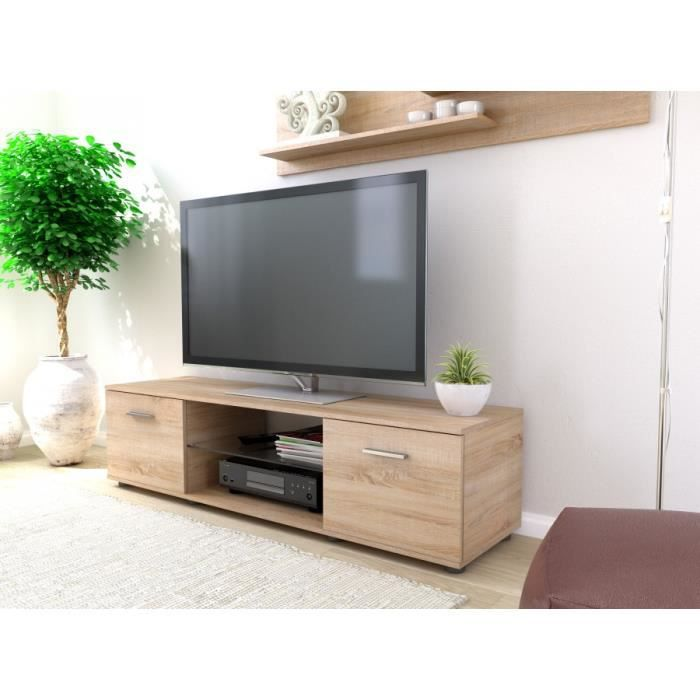 meuble t l clay ch ne bross achat vente meuble tv meuble t l clay ch ne bross cdiscount. Black Bedroom Furniture Sets. Home Design Ideas