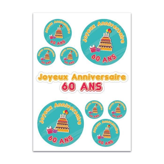 Planche De Stickers Joyeux Anniversaire 60 Ans Achat Vente Stickers Soldes Sur Cdiscount Des Le 20 Janvier Cdiscount