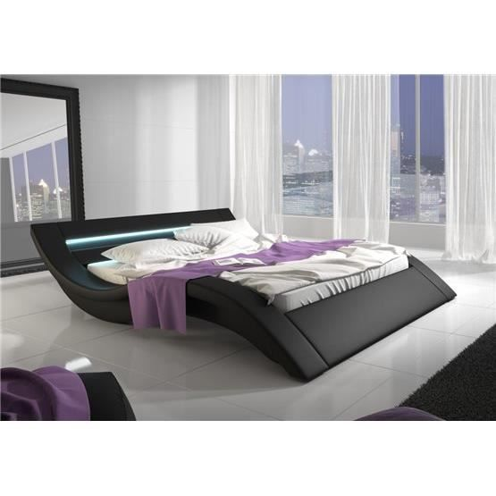 lit design anali noir 160x200 achat vente structure de. Black Bedroom Furniture Sets. Home Design Ideas