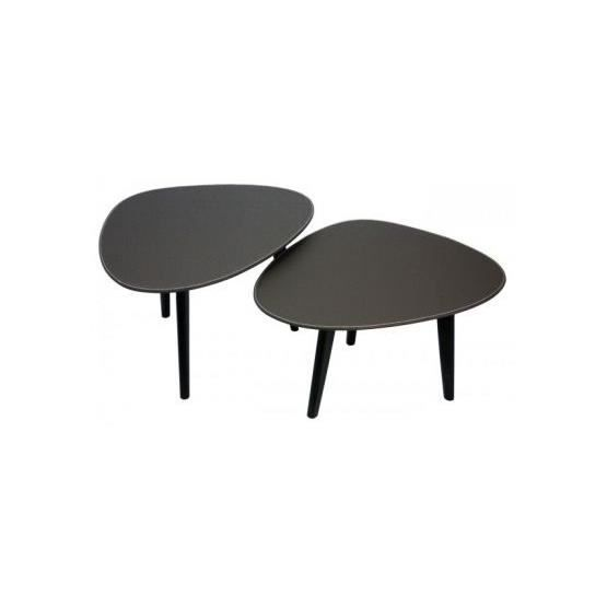 Lot de 2 tables basses ovales sabine marron achat vente table basse lot d - Tables basses ovales ...
