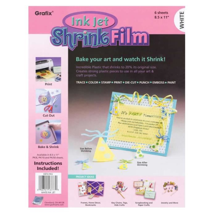 PAPIER CRÉATIF Grafix : Blanc A4 de Film Rétractable imprimable j