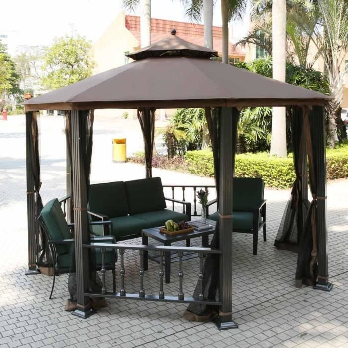 kiosque gazebo tonnelle parasol enti rement ferm jardin. Black Bedroom Furniture Sets. Home Design Ideas