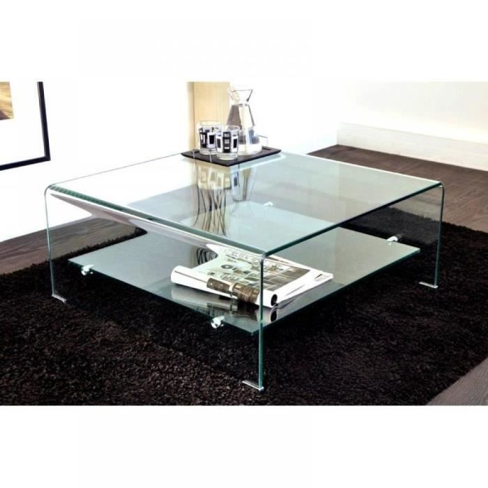 Wave table basse carr e en verre double plateau achat for Tables basses de salon en verre